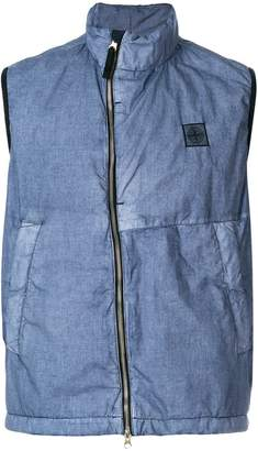 Stone Island logo patch zipped gilet