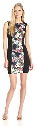 Betsey Johnson Women's Sleeveless Printed Jacquard Sheath Dress, Black/Multi, 4