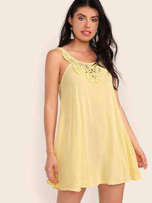 Shein Keyhole Back Lace Insert Swing Dress
