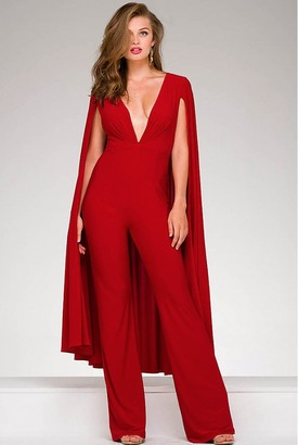 Jovani - 46031A Plunging V- Neck Jumpsuit with Cape $400 thestylecure.com