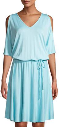 Three Dots Cold-Shoulder Tie-Waist Striped Dress