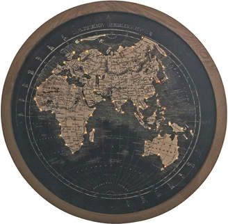 Global Gatherings Round Light Up World Map Wall Hanging