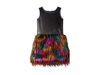 Appaman Kids Faux Leather Multicolored Faux Fur Eve Dress (Toddler/Little Kids/Big Kids)