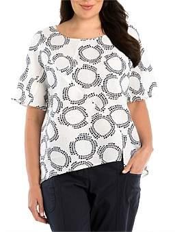 Yarra Trail Woman Short Sleeve Panelled Print Shirt