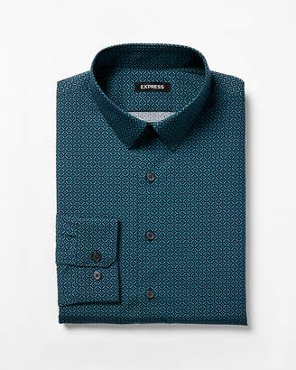 Express Extra Slim Geometric Print Dress Shirt