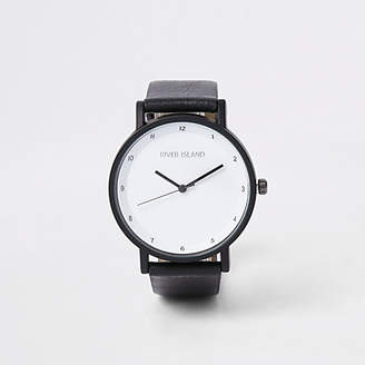 River Island Black round face minimal watch
