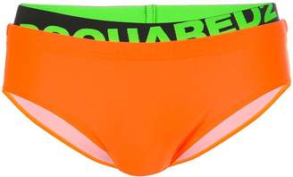 DSQUARED2 neon branded swim shorts
