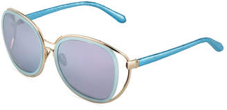 Linda Farrow Oversized Square Sunglasses w\/ Snakeskin-Wrapped Arms