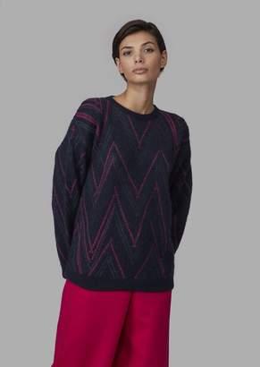 Giorgio Armani Chevron Jacquard Sweater