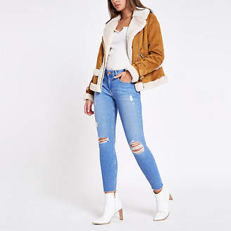 River Island Bright blue Amelie ripped skinny jeans