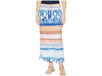 Tribal 35 Printed Jersey Long Skirt with Drawstring in Blue Wave Women's Skirt