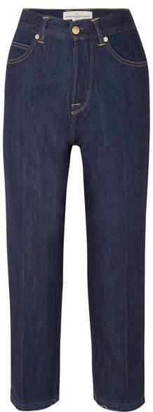 Komo Cropped High-rise Straight-leg Jeans - Dark denim