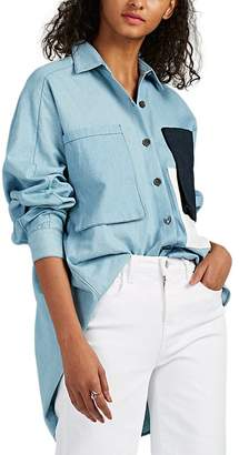 Colovos Women's Cotton Chambray Oversized Button-Front Shirt