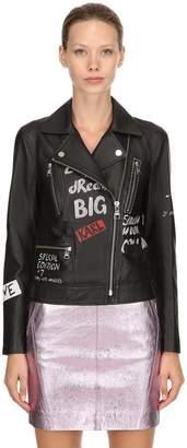 Karl Lagerfeld Handmade Graffiti Leather Biker Jacket