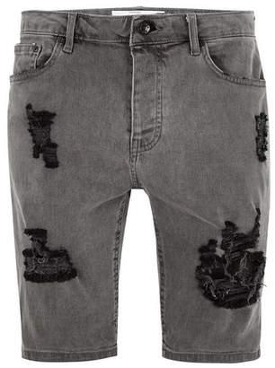 Topman Mens Grey Gray Ripped Stretch Skinny Shorts