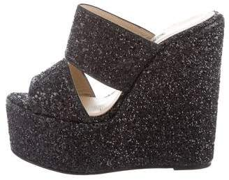 Elie Saab Sequined Slide Wedges