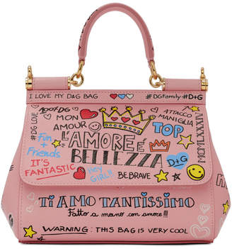 Dolce & Gabbana Pink Small Graffiti Miss Sicily Bag