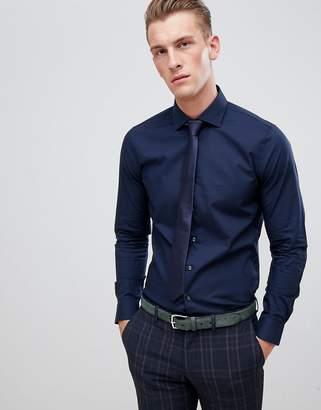 Michael Kors slim fit smart shirt in navy stretch