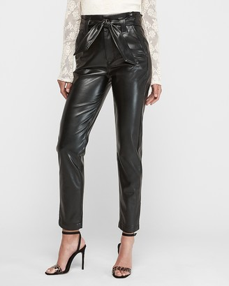 Express Super High Waisted Vegan Leather Paperbag Waist Pant