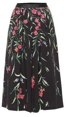 Carolina Herrera Floral stretch-cotton midi skirt