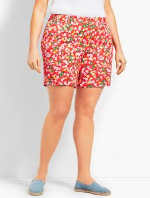 "Talbots 7"" Girlfriend Chino Short-Spring Posies"