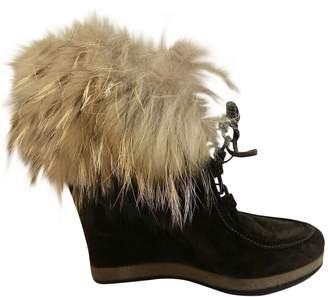 Moncler Brown Suede Ankle boots