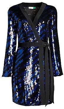 Rixo Women's Maria Tiger Sequin Wrap Dress