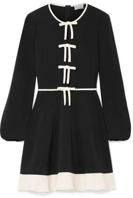 RED Valentino Bow-embellished Stretch-crepe Mini Dress - Black