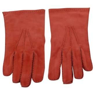 Hermes Orange Suede Gloves