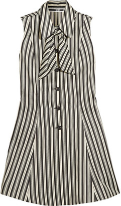 McQ Alexander McQueen - Pussy-bow Striped Satin-twill Mini Dress - White $595 thestylecure.com