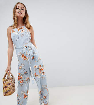 Miss Selfridge Petite jumpsuit with tie front in floral print
