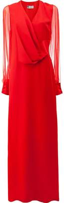 Lanvin sheer sleeve pleated detail gown