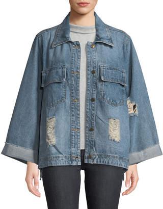 Lumie Script-Embroidered Distressed Denim Jacket