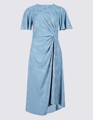 Marks and Spencer Jacquard Print Short Sleeve Midi Dress
