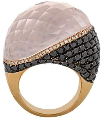 French Collection 18K Rose Gold Pink Quartz Multi-Diamond Ring