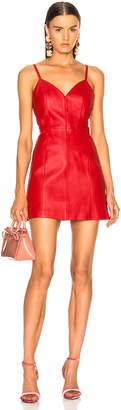 ALEXACHUNG Leather Spaghetti Strap Mini Dress in Red | FWRD