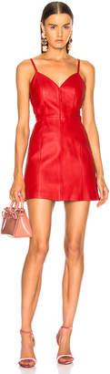 ALEXACHUNG Leather Spaghetti Strap Mini Dress