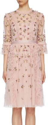 Needle & Thread 'Rococo Ditsy' sequin floral embroidered ruffle tulle dress
