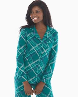 Embraceable Long Sleeve Notch Collar Pajama Top Delicate Plaid Gem Green 5a752b95c
