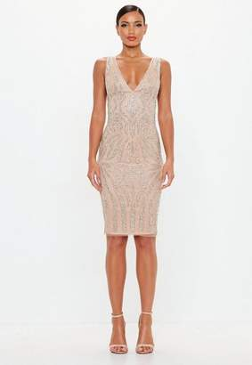 Missguided Nude Embellished Plunge Midi Dress