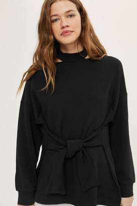 Topshop Belted longline sweat top
