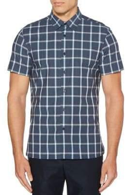 Perry Ellis Stretch Plaid Short Sleeve Button Down Shirt
