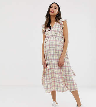 Glamorous Bloom midi dress with ruffle shoulders in grid check