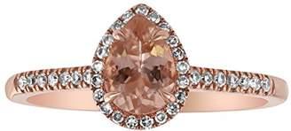 Olivia Paris Women's 14K Rose Gold Pear Shape Morganite & Diamond Halo Engagement 3 Ring Set (1/3 cttw