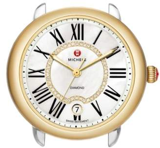 Michele Serein 16 Diamond Dial Two-Tone Round Watch Head, 34mm x 36mm