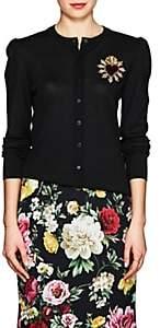 Dolce & Gabbana Women's Embroidered Wool Cardigan-Black