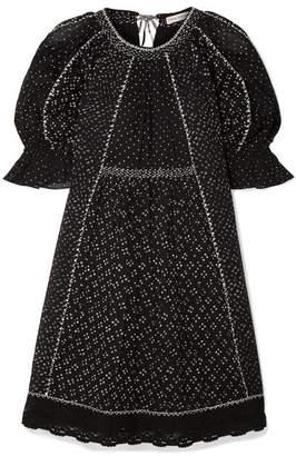 Ulla Johnson Feroz Crochet-trimmed Printed Cotton-gauze Mini Dress - Black