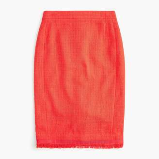 J.Crew Petite tweed pencil skirt with fringe