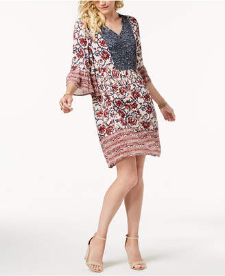 Style&Co. Style & Co Petite Mixed-Print Peasant Dress, Created for Macy's