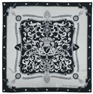Aspinal of London Signature Shield Silk Scarf In Monochrome